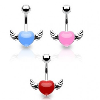 Angel Wing Heart Navel Ring Belly Bar