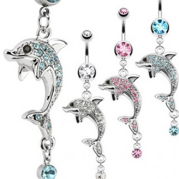 CZ Dolphin Navel Bar Belly Dangle