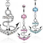 Anchor Gem Navel Ring Belly Dangle