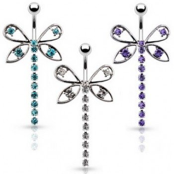 Dragonfly CZ Belly Bar Navel Ring