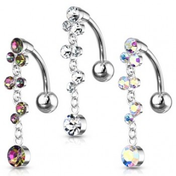 Reverse Drop Belly Ring Navel Bar