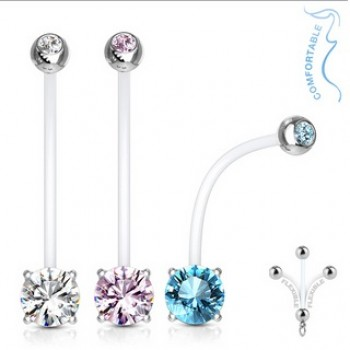 Pregnancy CZ Navel Ring Belly Bar