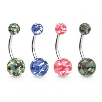 Camouflage Print Ball Navel Bar Belly Ring