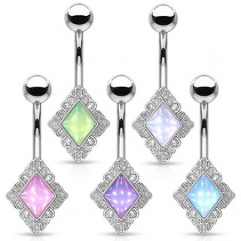 Illuminating Stone Filigree Diamond Belly Navel Bar