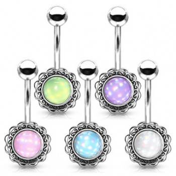 Illuminating Stone Filigree Flower Belly Navel Bar