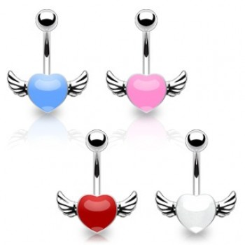 Angel Wing Heart Navel Bar
