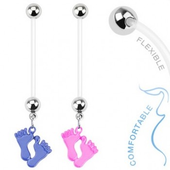 Pregnancy Baby Feet Navel Ring Belly Dangle