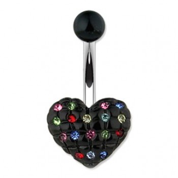 Multi Colour CZ Black Love Heart Navel Ring
