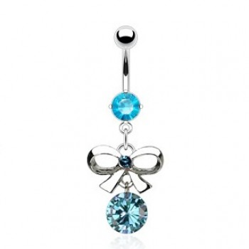 Bow Tie CZ Belly Bar Navel Dangle