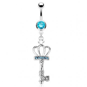 Crown Key Belly Bar Ring Navel Dangle
