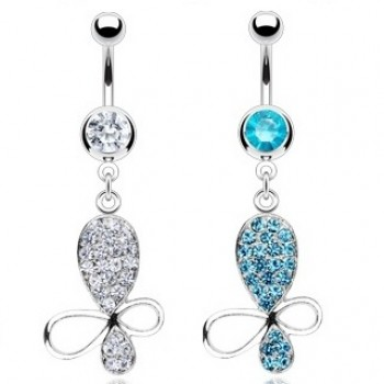 CZ Butterfly Navel Ring Belly Dangle