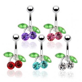 CZ Cherry Belly Bar Navel Ring