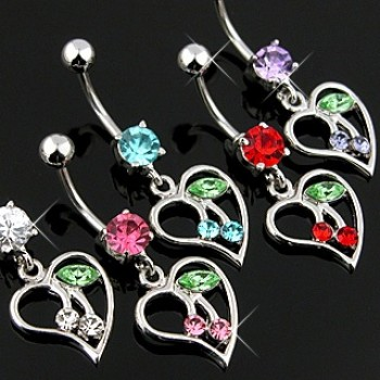 Cherry Heart Navel Dangle
