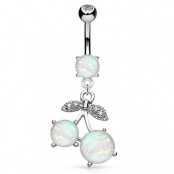 Cherry Opal Belly Bar Ring Navel Dangle
