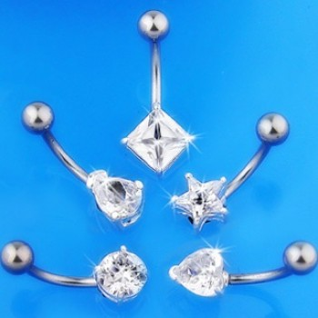CZ Shape Belly Bar Navel Ring