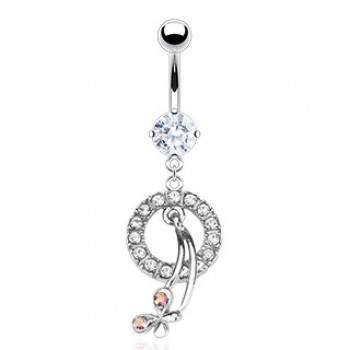 Butterfly Gem Loop Belly Dangle Navel Ring