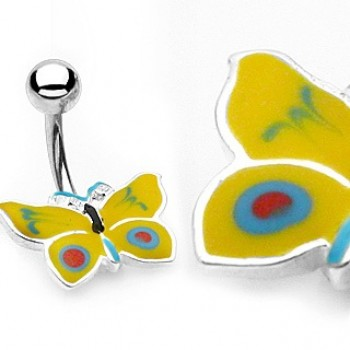 Yellow Butterfly Belly Bar Navel Ring
