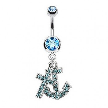 Cross Anchor Belly Bar Ring Navel Dangle