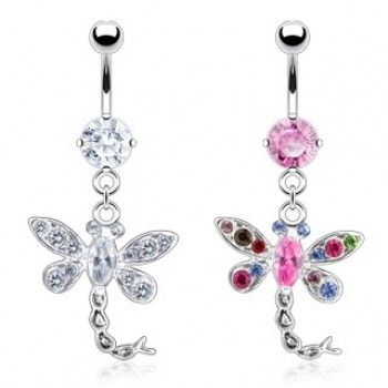 CZ Dragonfly Navel Dangle