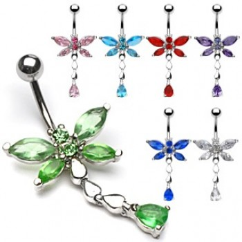 CZ Dragonfly Belly Dangle