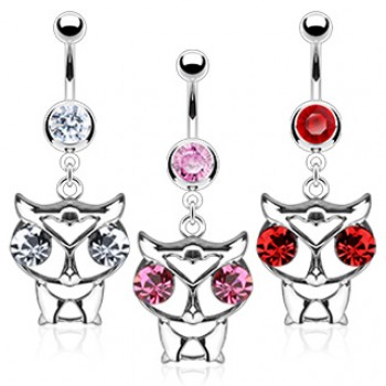 CZ Owl Belly Bar Ring Navel Dangle
