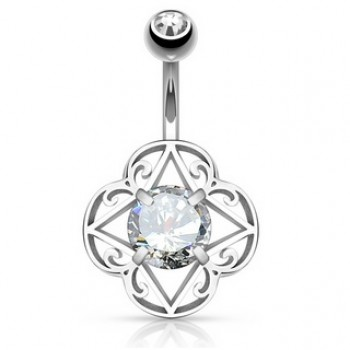 Filigree CZ Navel Ring