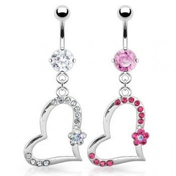 CZ Heart Flower Navel Ring Belly Dangle
