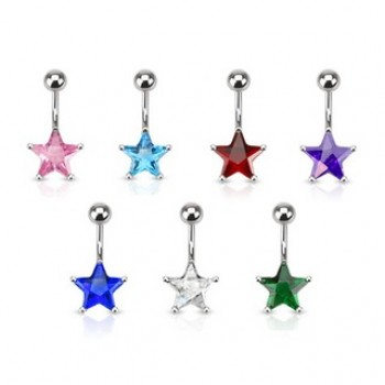 CZ Star Belly Bar Navel Ring