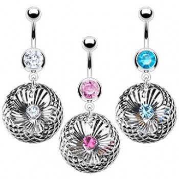 CZ Swirl Flower Dangle