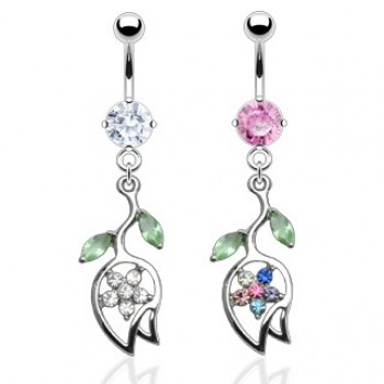 CZ Tulip Flower Navel Dangle