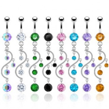 CZ Vine Navel Dangle