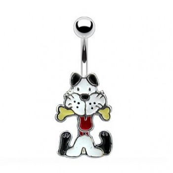 Dangling Dog Navel Ring Belly Bar