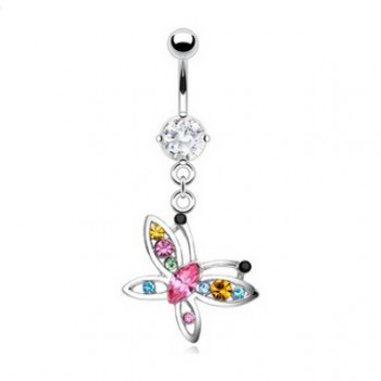 CZ Dazzling Butterfly Belly Bar Navel Dangle
