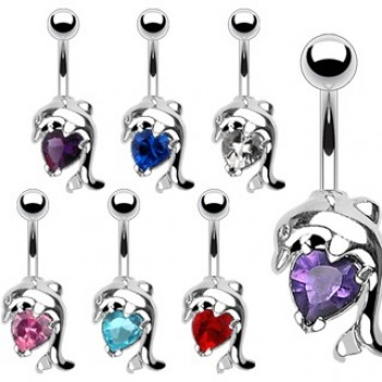 Love Heart Dolphin CZ Navel Ring Belly Bar