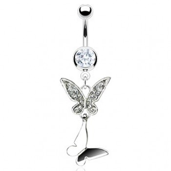 Double Butterfly Gem Belly Ring Navel Dangle
