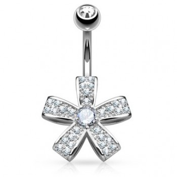 CZ Flower Belly Bar