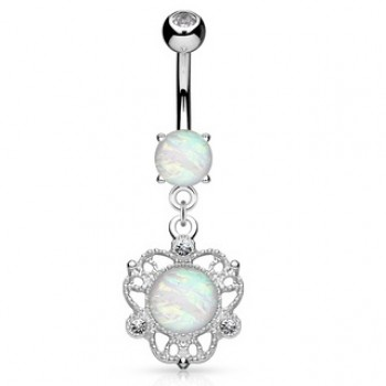 Filigree Flower Opal Navel