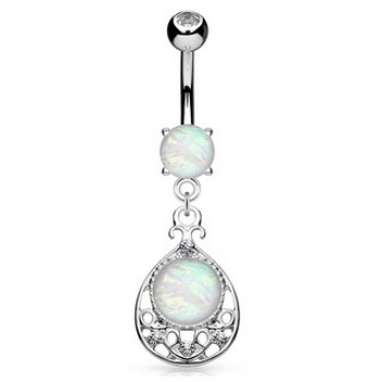 Filigree Opal Belly Bar Navel Dangle