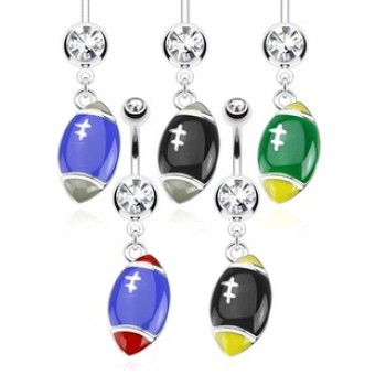 FootBall Belly Bar Ring Navel Dangle