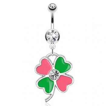 Four Leaf Clover Navel Dangle