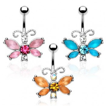 Gem Butterfly Navel Ring