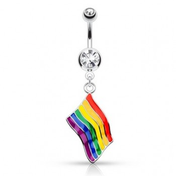 Rainbow Flag Navel Ring Belly Dangle