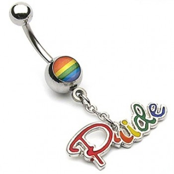 Gay Pride Navel Ring Belly Dangle