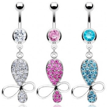 CZ Butterfly Belly Dangle