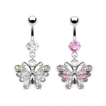 Pave Gem Butterfly Navel
