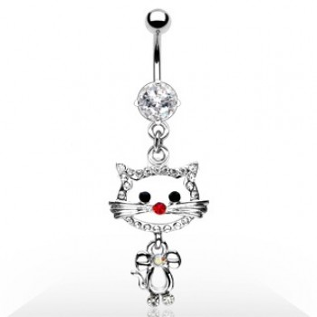 Gem Cat Navel Dangle