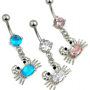 Gem Crab Navel Ring Belly Dangle