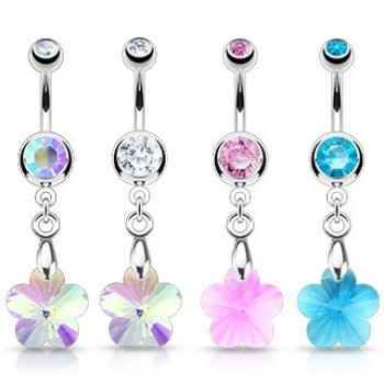 Gem Flower Belly Ring Navel Dangle