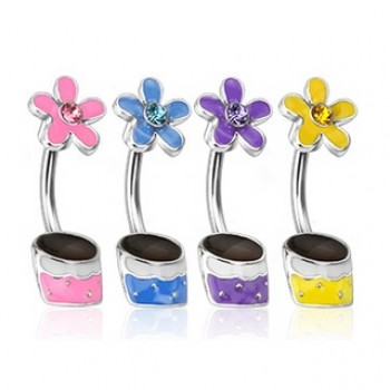 Gem Flower Pot Belly Bar Navel Ring