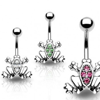 Gem Frog Navel Ring Belly Bar